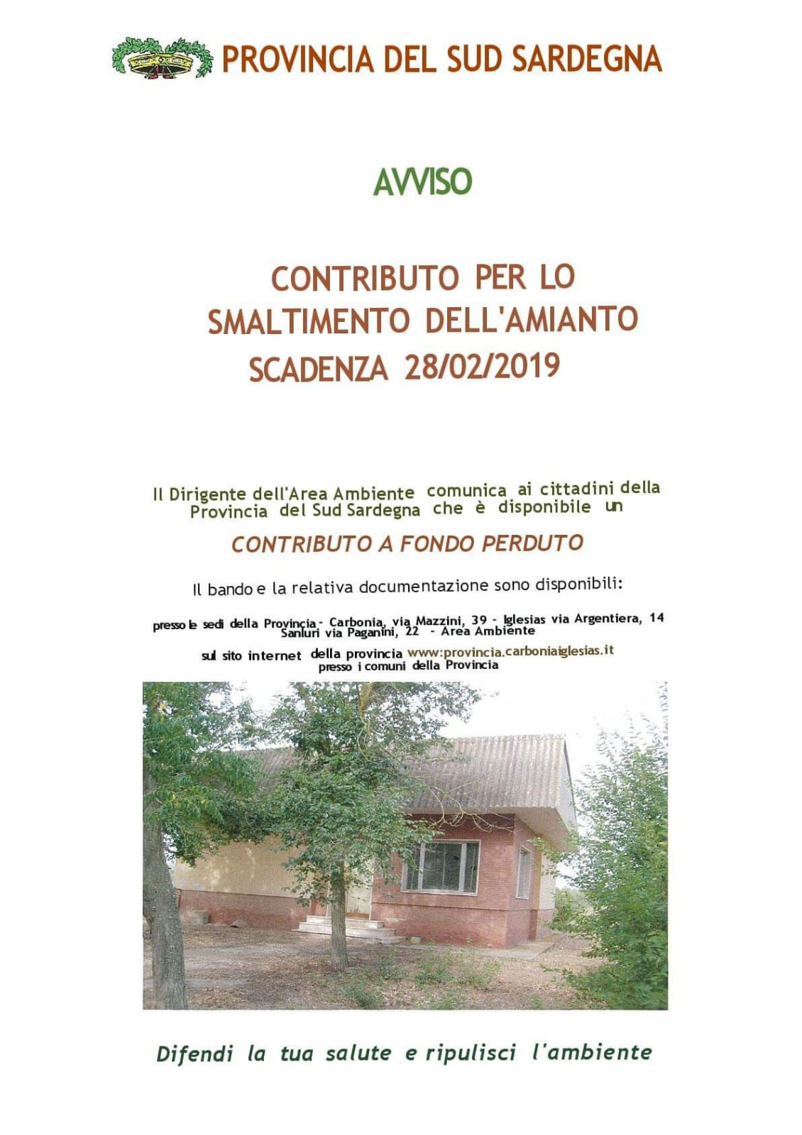 Bando smaltimento amianto